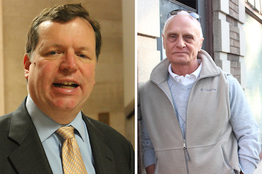 A supporter of Ald. Joe Moore (l.) challenged the nominating petitions of all 49th Ward candidates — except for the incumbent and Don Gordon (r.).