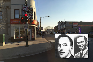 Detectives George Helstern (l.) and Charles Brady (r.) were shot and killed in 1945 on the southeast corner of Lunt Avenue and Clark Street.