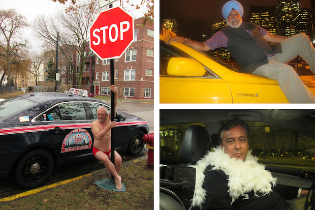 For the  second year  in a row, 12 of Chicago's cabbies struck provocative poses to raise money to fund  a long-standing federal lawsuit against the city .