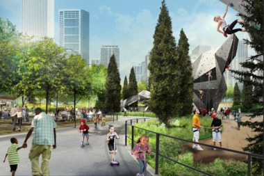 A rendering of Maggie Daley Park during summer months.