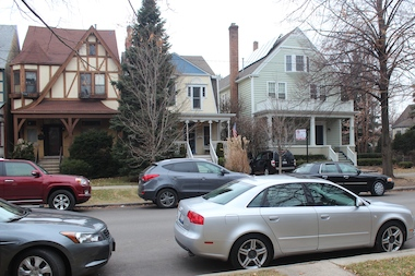 Vehicles are parked outside Mayor Rahm Emanuel's house. His 17-year-old son was reportedly robbed near the home Friday night.
