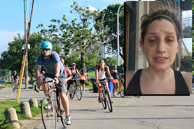 Megan Williams still had two black eyes a week after she was struck by a cyclist on the Lakefront Trail.