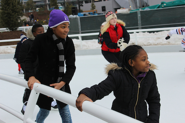 The park named for Chicago's former first lady features a skating ribbon that is open to the public.