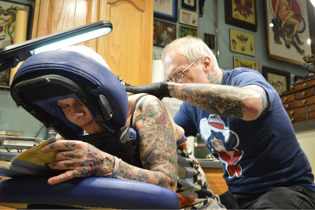 "When planning a 75th birthday party, ""tattoo parlor"" might not be on the venue list — yet that's exactly where Edgewater resident Helen Lambin found herself."