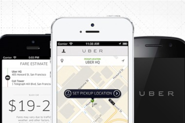 Users order taxis or ride-sharing services through Uber's mobile app.