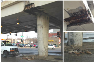 The Western-Belmont overpass already is shedding concrete, and demolition isn't set until next spring or summer.