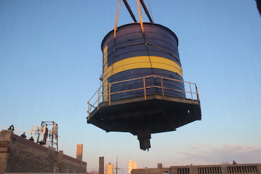 The iconic Andersonville water tower was removed in March 2014.