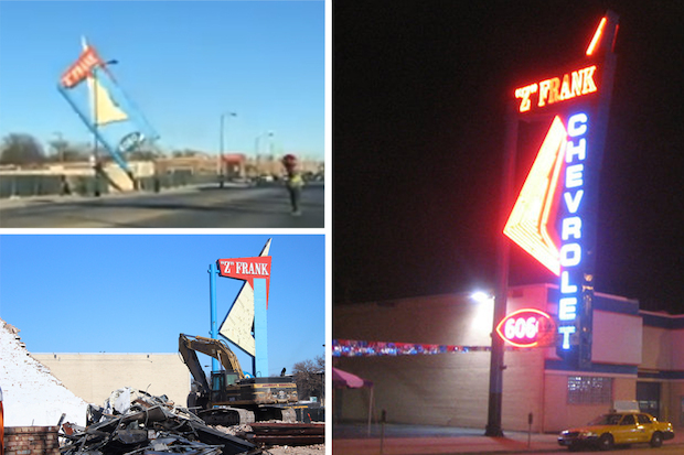 The 50-foot-tall retro sign on Western Avenue was torn down Wednesday.