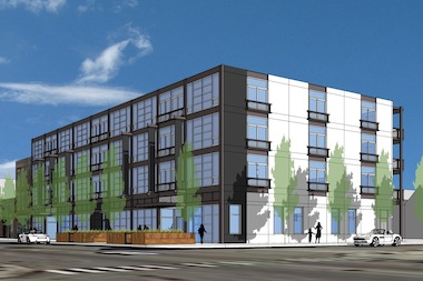 A rendering of a four-story building coming to the corner of Honore and Division St., on the site of a former lumber yard.