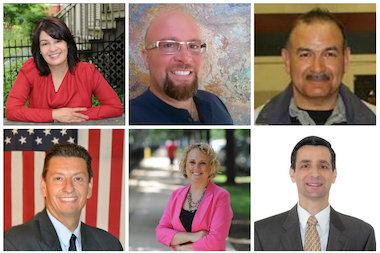 Candidates in the race for the 38th Ward seat on the Chicago City Council, clockwise from top left, Belinda Cadiz, Tom Caravette, Carmen Hernandez, Jerry Paszek, Heather Sattler and Ald. Nicholas Sposato. Michael Duda is not pictured.