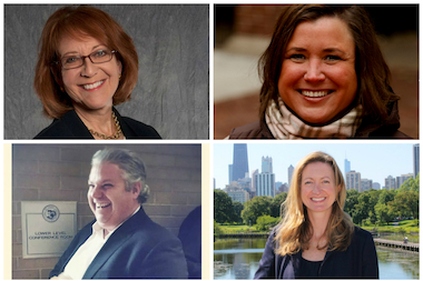 The candidates for the 43rd Ward election include Michele Smith (top left), Jen Kramer (top right), Jerry Quandt and Caroline Vickrey.