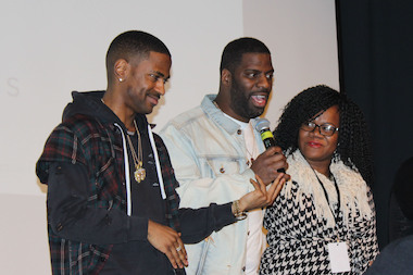 "Big Sean (l.), Che ""Rhymefest"" Smith and Donnie Smith, executive director of Donda's House, speak Saturday at the Chicago Cultural Center."
