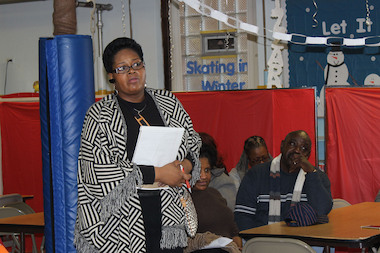Cee Powell, vice president of the Greater Chatham Alliance, speaks during a meeting Saturday to address concerns about Nuway Community Services, a methadone clinic.