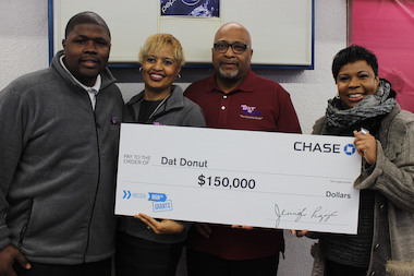 Dat Donut was presented with a check for $150,000 on Friday, Jan. 23, 2015 by Chase Bank.