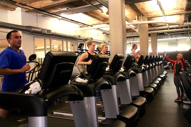 Equinox trainer Jenn Hogg runs a precision running course at the gym's Lincoln Park location.