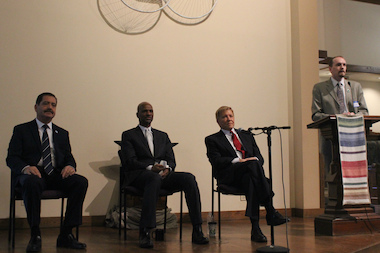 "Cook County Commissioner Jesus ""Chuy"" Garcia (l.), William ""Dock"" Walls (c.), Ald. Robert Fioretti (2nd), red tie, and Green Party chairman Phil Huckleberry (r.). Mayoral candidates discussed issues from education, TIF, and the environment issues during Saturday's Green Party forum in Lakeview."