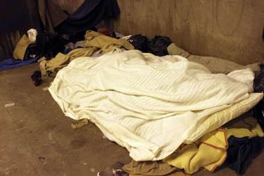 A makeshift bed under Lower Wacker Drive