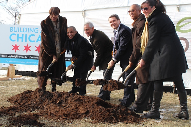 Mayor Rahm Emanuel and a host of politicians broke ground on the new Bronzeville Mariano's at the corner of Pershing Road and King Drive.