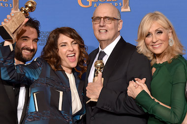 "Jill Soloway (l.) picked up a Golden Globe Monday night as creator of the Amazon Studios series ""Transparent."""