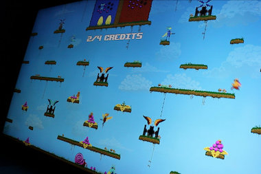 The relatively rare, 10-player arcade game Killer Queen can be found at Logan Hardware.