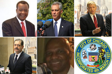 "Mayor Rahm Emanuel faced off with four challengers: Ald. Bob Fioretti (2nd); Cook County Commissioner Jesus ""Chuy"" Garcia (D-Chicago); business executive Willie Wilson; and perennial candidate William ""Dock"" Walls."