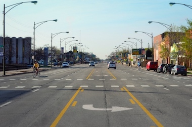 As shown here in a city rendering, Milwaukee Avenue will remain four lanes between Lawrence and Elston avenues.