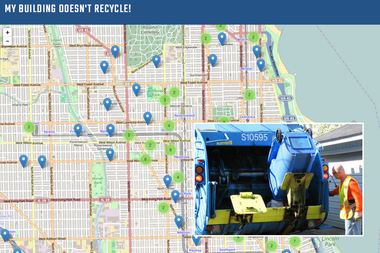 """My Building Doesn't Recycle!"" is a new website that catalogs residential buildings across Chicago without recycling services. Buildings with four or fewer units are covered by the city's Blue Cart recycling program."