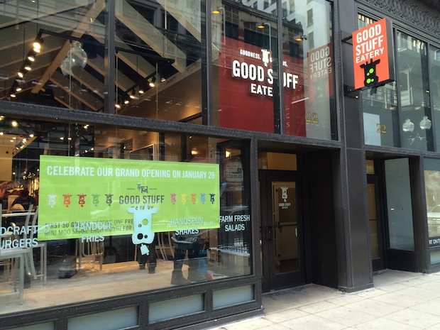 "A first look at former ""Top Chef"" contestant Spike Mendelsohn's Good Stuff Eatery, a Washington-based chain that is opening a Loop location Wednesday."