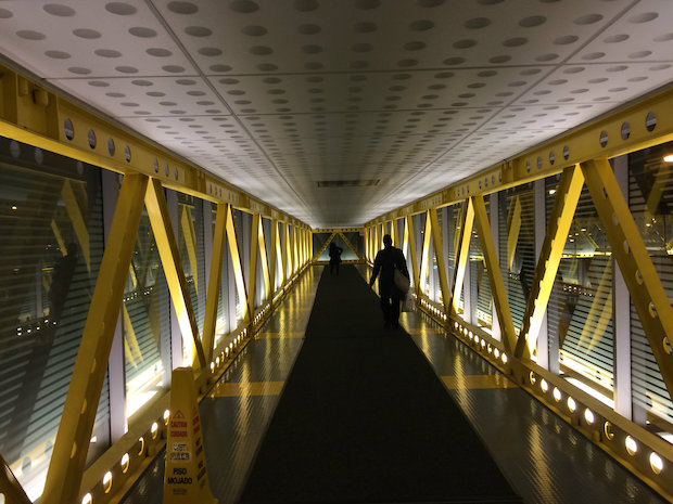 A stretch of the Pedway underneath the Blue Cross Blue Shield Tower near Maggie Daley Park
