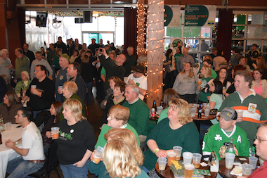 A healthy crowd typically gathers for a preparty ahead of the South Side Irish St. Patrick's Day Parade. The event helps to raise money to offset the cost of the parade, including added security and portable toilets.