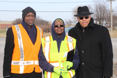 Lamar Herron (l.), a member of the Safety Transportation Advisory Council; Deloris Lucas, chairwoman of the council and the Rev. Mitchell L. Johnson, interim executive director of the Developing Communities Project, said shoppers at Rosebud Farms Grocery store, 525 E. 130th St., have a treacherous walk to the store because there are no sidewalks in the area.