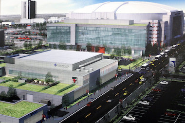 A new standalone office building adjacent to the United Center will house employees who operate out of the United Center building and a new Blackhawks and Bulls retail store.