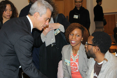 Cortney and Kipron Sigilai, owners of Tre Luxe, a natural hair care product company, chat with Mayor Rahm Emanuel Friday at a Whole Foods workshop for entrepreneurs.