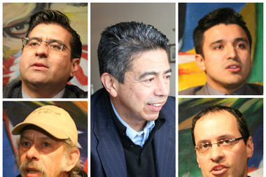 "Ald. Danny Solis (center) is being challenged by four candidates in the 25th Ward race: Roberto ""Beto"" Montano (top left), Jorge Mujica (bottom left), Byron Sigcho (top right), Ed Hershey (bottom right)."