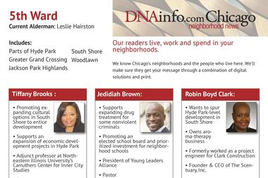 A guide to all the aldermanic candidates running in the 5th Ward race.