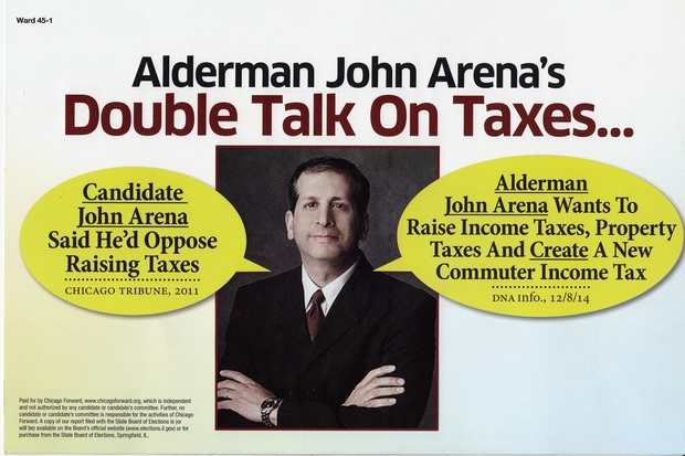 "Arena said he would work to ""make sure v ery  wealthy and large corporations pay their fair share."""