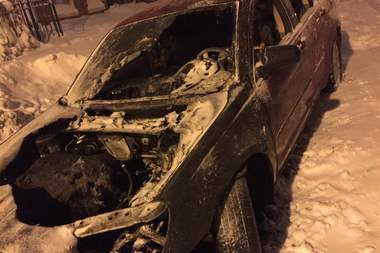 The aftermath of a car fire in Lakeview. Nearby resident Andrew Peron said he'd never seen anyone rock back and forth so aggressively before.