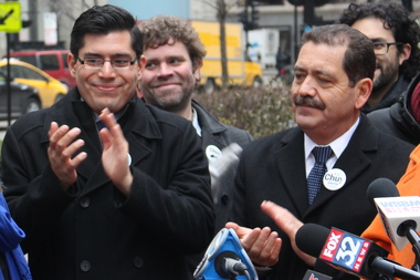 "Carlos Ramirez-Rosa (l.) and Cook County Commissioner Jesus ""Chuy"" Garcia at a campaign event in January"