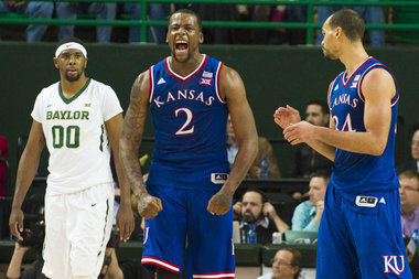 Cliff Alexander #2 of the Kansas Jayhawks reacts after a defensive stop against the Baylor Bears on January 7, 2015 at the Ferrell Center in Waco, Texas.