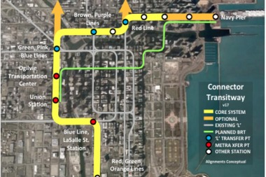 A map of potential Connector extensions Downtown. A group of businesses and planning officials are developing a white paper exploring the merits of the ambitious transit plan.