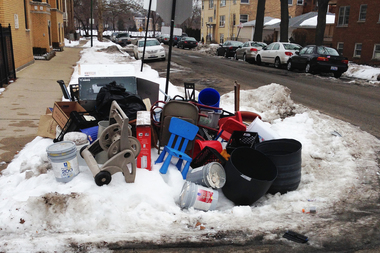 "A resident of a West Rogers Park block cleared dibs stuff and created an ""art installation."""