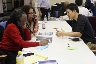 Five students doing an independent study with an architect/adjunct professor are helping to design a business innovation center by the Greater Englewood Community Development Corporation. Students met with the business community Thursday, Feb. 12, 2015.