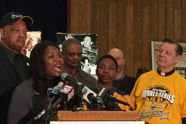 Venisa Green and her son Brandon were joined by the Rev. Jesse Jackson and the Rev. Michael Pfleger at Operation PUSH.