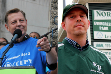 The Rev. Michael Pfleger, left, and Chris Janes of the Evergreen Park Athletic Association.