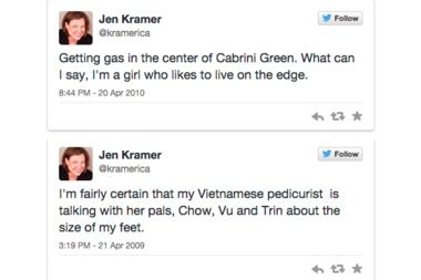 Jen Kramer, a candidate in the 43rd Ward, is taking heat for a series of tweets sent from her personal account over the last six years.