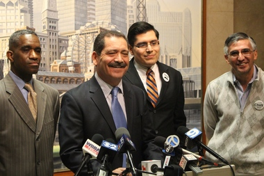 "Commissioner Jesus ""Chuy"" Garcia picked up the backing of Aldermen-elect David Moore and Carlos Ramirez-Rosa, as well as Ald. Ricardo Munoz."