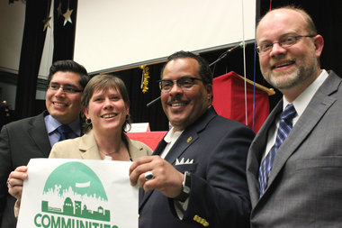 Carlos Rosa, Annisa Wanat, Rey Colon and Tim Meegan appeared at a joint forum to talk about social justice issues.