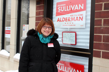 Maureen Sullivan outside of her Morgan Street campaign headquarters. She's running for alderman in the 11th Ward.