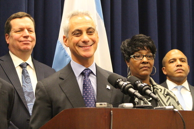 Mayor Rahm Emanuel's super PAC has contributed to the re-election campaigns of Aldermen Joe Moore (l.), Emma Mitts and Will Burns (r.), among others.