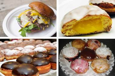 Places you can enjoy paczki on Paczki Day include (from top left, clockwise): DMK Burger Bar, Swedish Bakery, Roeser's Bakery and Delightful Pastries.